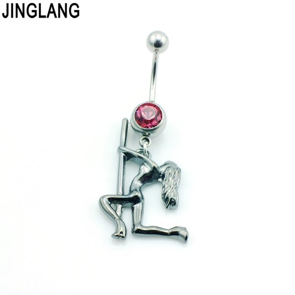 JINGLANG Fashion Belly Button Rings Surgical Steel Barbell Dangle Alloy Pole Dancer Navel Piercing Hypoallergenic Jewelry