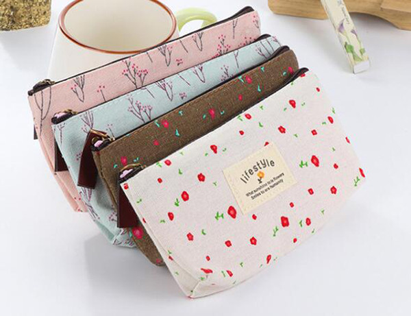 Brand New Womens Flower Floral Pencil Pen Canvas Case Ladies Cosmetic Small Makeup Tool Bag Storage Pouch Purse
