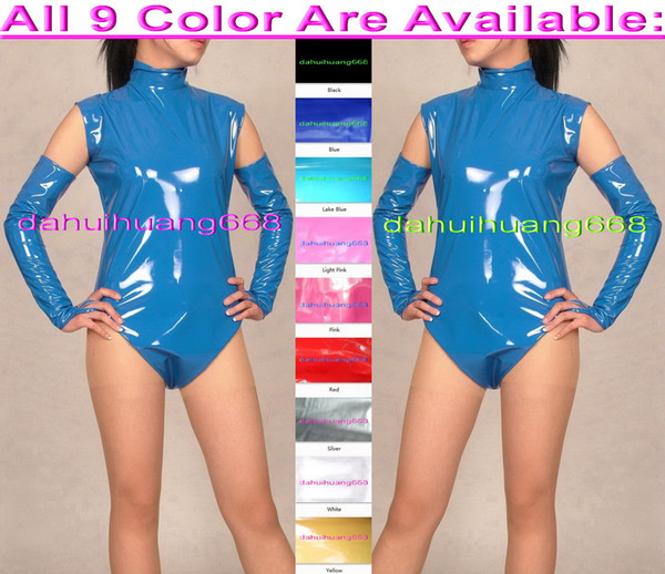 Sexy Blue PVC Short Body Suit Costumes New 9 Color Shiny PVC Short Suit Catsuit Costumes Sexy Bodysuit Costumes With Long Gloves DH227
