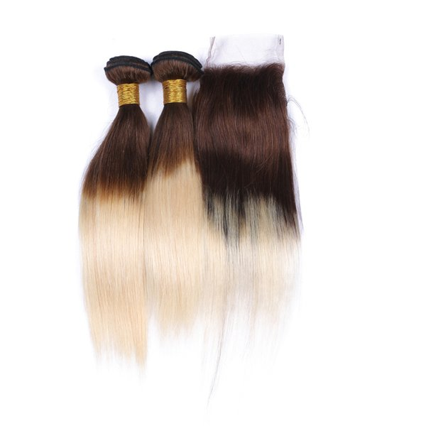 Two Tone 4/613 Ombre Brazilian Human Hair Weaves with Closure with baby hair Medium Brown Blonde Straight Hair 3Bundles with Lace Closure