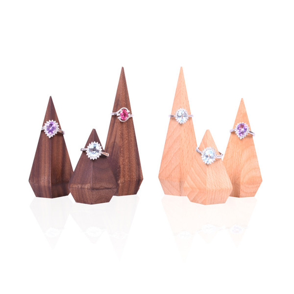 Pointed Finger Ring Holder Raw Wood Proposal Jewelry Rings Display Stand for Boutique Shop Counter Showcase Jewellery Fair Exhibition