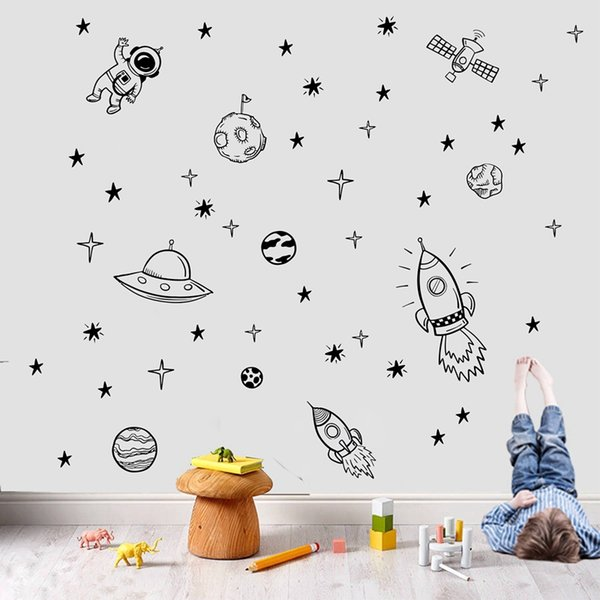 stickers for Rocket Ship Astronaut Creative Vinyl Wall Sticker For Boy Room Decoration Outer Space Wall Decals Nursery Kids Room Decor