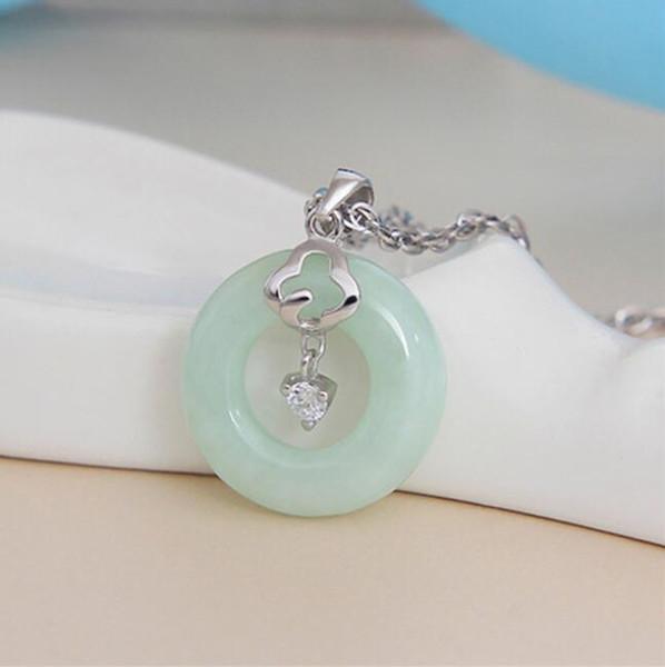 925 Sterling Silber hellgrün Jade Halskette Anhänger Schmuck