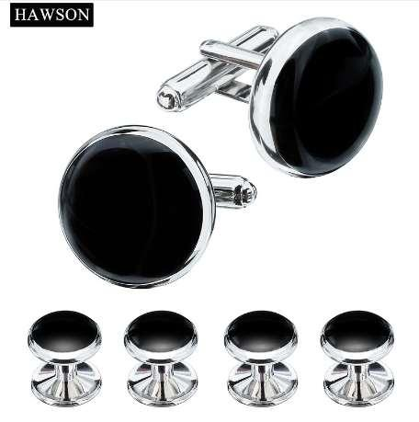 HAWSON Tuxedo Shirt Cuff links Buttons Formal 3 Colors Optional Black Enamel Cufflinks Studs Set