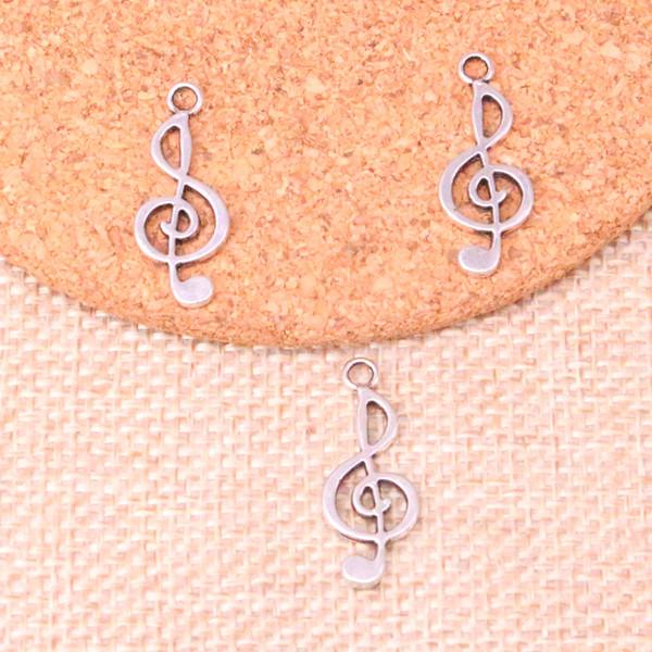 150 stücke Antike silberne musiknote Charme Anhänger Fit Armbänder Halskette DIY Metallschmuckherstellung 26 * 10mm