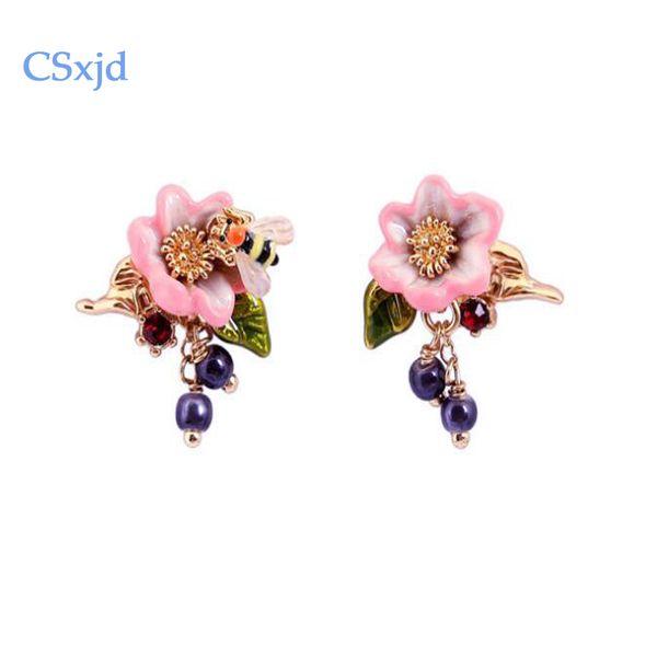 Großhandel neue luxuriöse elegante Emaille-Nette kleine Biene Rosengarten Ohrringe Mode für Frauen Ohrringe Schmuck stieg