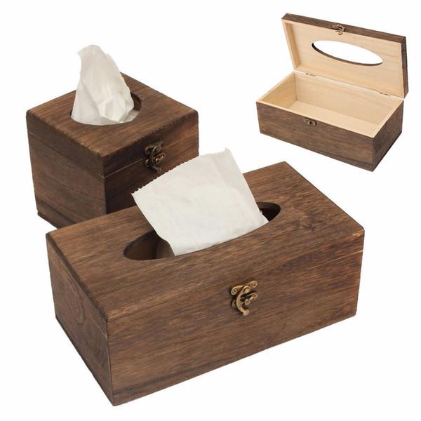 Retro Wooden Rectangular Paper Cover Case Tissue Box Napkin Holder Decor New