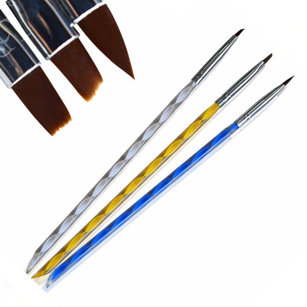 100% Brand New 3pcs/set Professional 2 ways Nail Art Drawing Painting Set Tools Hair Brushes DIY Polish Pen BETR32