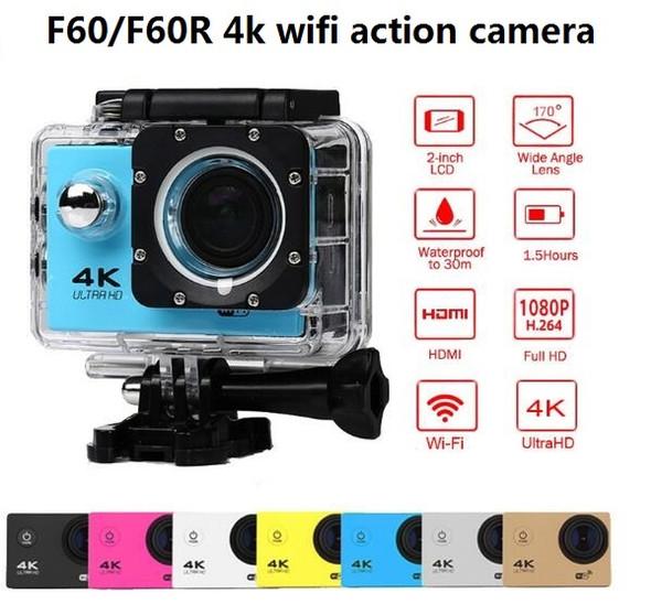 "4k wifi action camera go waterproof pro sport camera F60/F60R 2.4G 4K/30fps 1080P 2.0"" 170D Helmet Cam underwater camera"