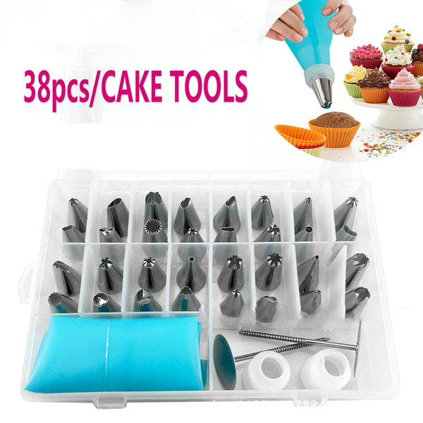 38pcs Stainless Steel Icing Piping Cream cake Tips Cake Decorating Tips Kits Tools Confectionery pastry bags Set Nozzles Coupler