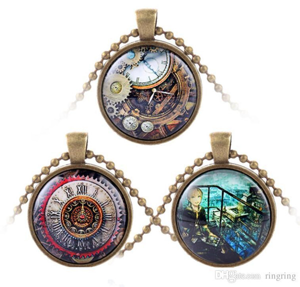 2018 Fashion Metal Steampunk Gears Clock Watch-Face Glass Art Pendant Chain Necklace Men Punk Brithday Party Christmas Gift Wholesale