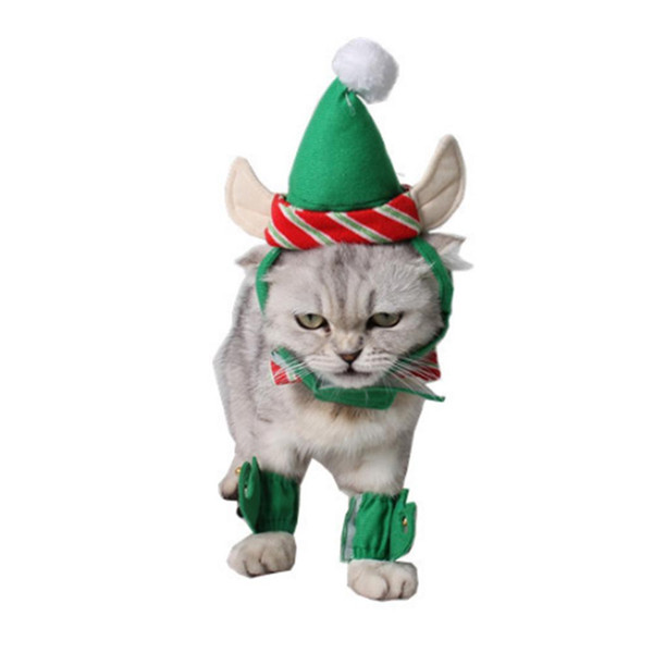 4pcs/set Pet Hat Dog Cat Christmas Green Hat + Necklace + Foot Cover docor Xmas Party Puppy Dog Chihuahua Clothing Cap