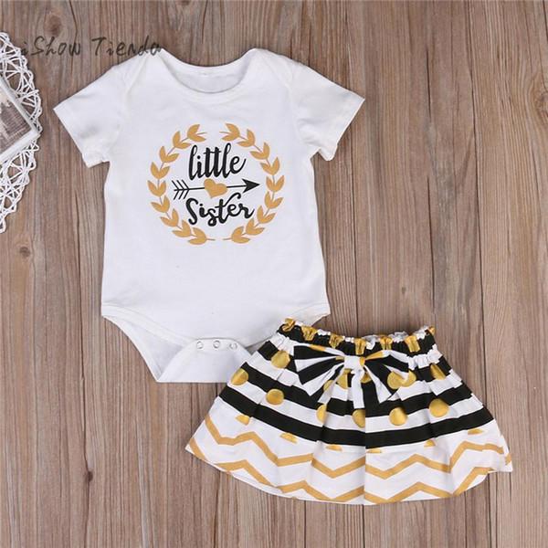 Yenidoğan için 2 adet yaz bebek giysileri set Küçük Kız Kardeş Eşleştirme tshirt için kız Üst Romper bebek tulum Etek kız kıyafet