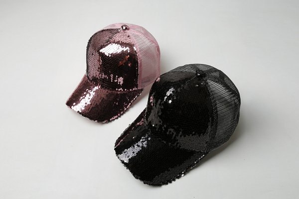 Fashion Joker Women's Summer Street Sequins Flash Duck Tongue Summer Sunscreen Baseball Net Hats Cool Trend Hat