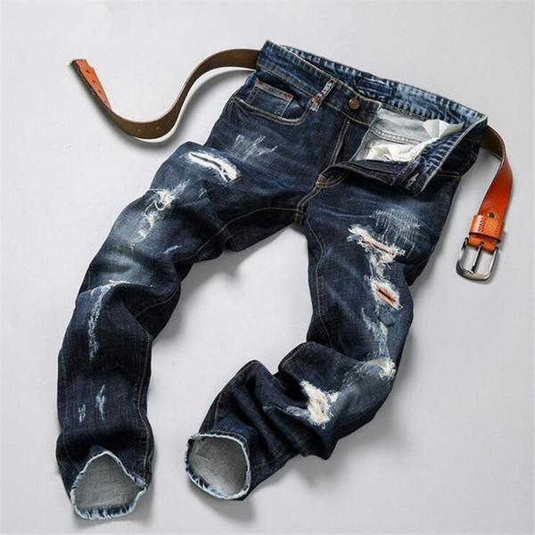 Hip hop jeans streetwear Slim Fit Ripped cool Jeans Hombres High Street para hombre Pantalones de mezclilla desgastados Agujeros lavados destruidos