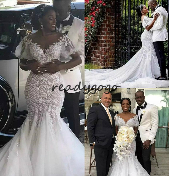 Mermaid Lace Applique Garden Wedding Dresses 2019 Off Shoulder Cathedral Train Luxury Detail Outdoor African Trumpet Wedding Bridal Gown