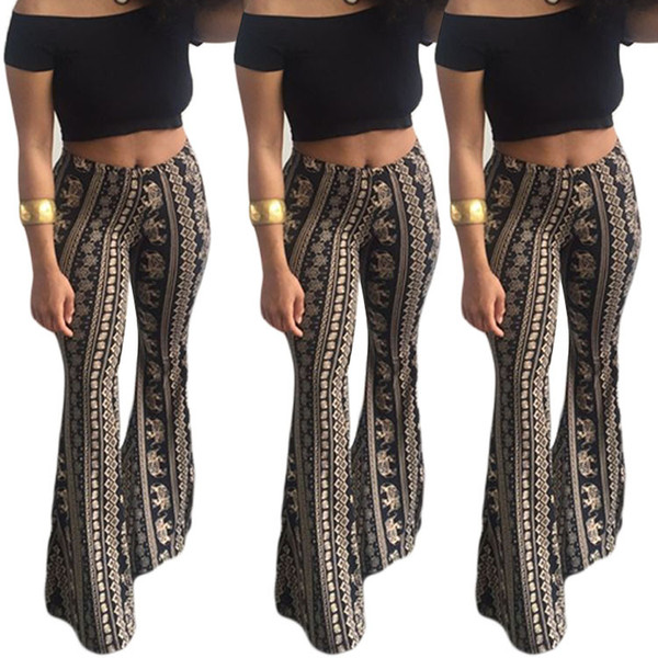 top popular Women's Explosive pants 2018 new women's pants Bohemian air micro - flare pants 2019