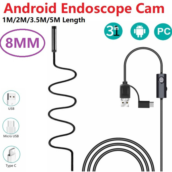 top popular 8mm Lens USB Endoscope Camera Waterproof Wire Snake Tube Inspection Borescope For OTG Compatible Android Phones 1 2 3.5 5M 2019