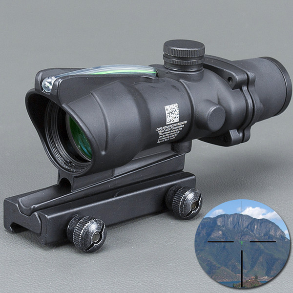 Trijicon Black Tactical 4X32 Scope Sight Real Fiber Optics Green Illuminated Tactical Riflescope with 20mm Dovetail for Hunting