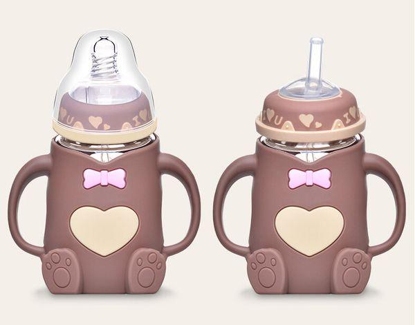 Anne ve çocuk malzemeleri Yenidoğan bebek geniş kalibreli şişe Kolu ile Parantez dayanıklı anti-flatulence bebek besleme cam şişe