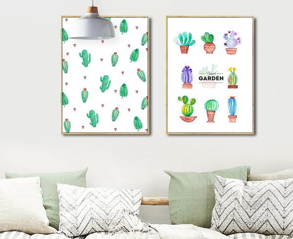 Estilo nórdico Verde Sin marco Imagen Minimalista Pintura Mural Sobre Lienzo Cactus En Maceta Cartel Nursery Room Decoration