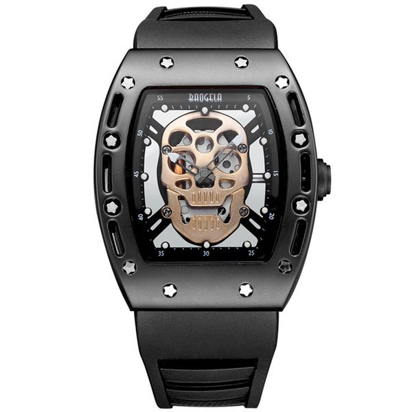 Men's Cool Hollow out Skull Quartz Wristwatch Luxury Sport watch for Men Military Silicone Band Rectangle Dial Men's watches