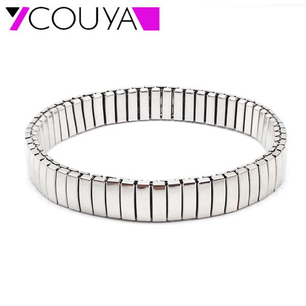 tutta la venditaNuova braccialetti di allungamento del classico dell'acciaio inossidabile braccialetti Braccialetti di fascia dell'orologio estensibile lucido elegante d'argento all'ingrosso della fabbrica