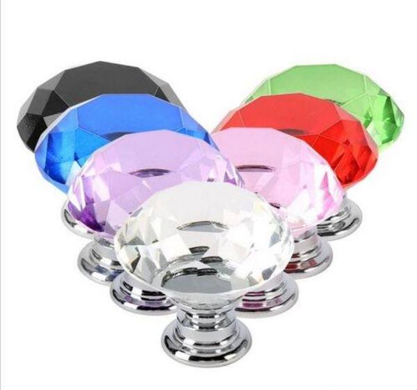best selling 30mm Diamond Crystal Glass Door Knobs Drawer Cabinet Furniture Handle Knob Screw Furniture Accessories