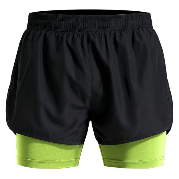 2 In 1 Men's Polyester Training Shorts Breathable Marathon Running Shorts Loose Sport Short Pants M-4XL Plus Size Gym Short