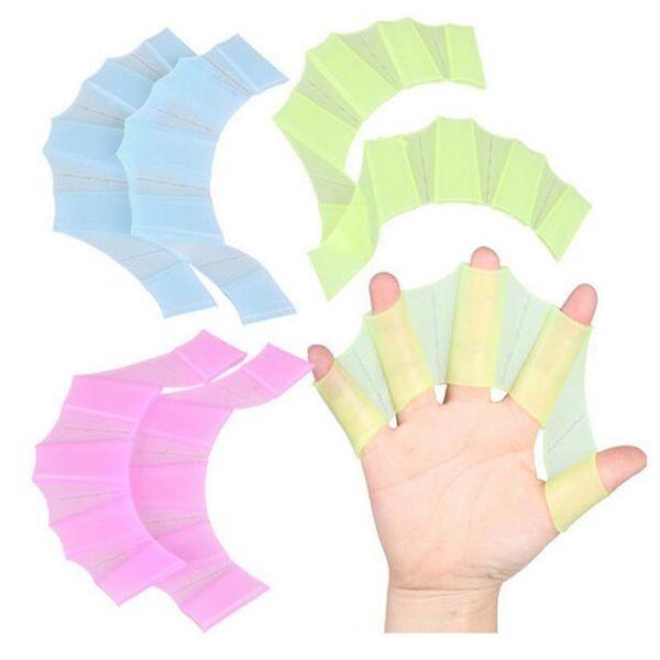 Взрослый ребенок силиконовые дайвинг бассейн профессиональная подготовка плавание половина палец руки плавники ласты перепончатые перчатки ладони весла 40 пар
