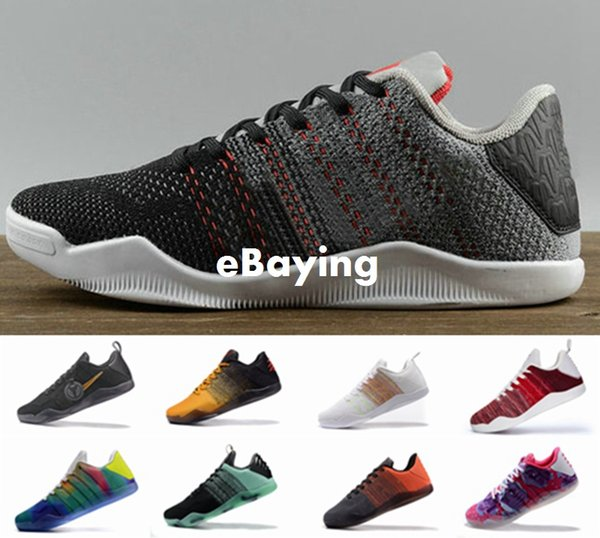 detailing ba330 b064e ... clearance kobe 11 low elite black mamba mens basketball shoes tinker  muse red white horse sneakers