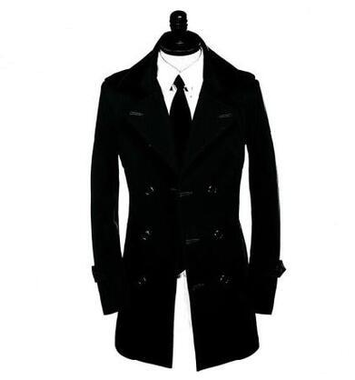 Medium-long slim sexy double breasted trench coat men overcoat long sleeve mens clothing business grey black plus size S - 9XL