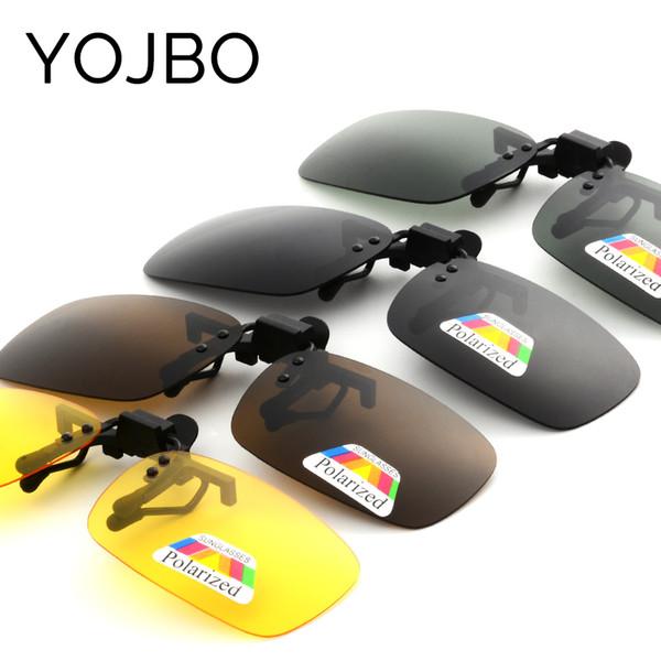 YOJBO Night Vision Women Men Clip On Flip Up Sunglasses Designer Brand Polarized Sun Glasses Yellow Driving Glasses Gafas De Sol