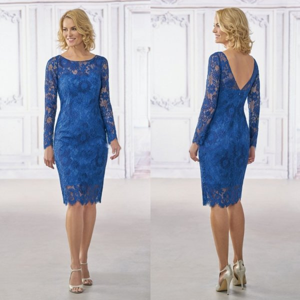 Blue Full Lace Mother Of The Bride Dresses With Long Sleeves Elegant Knee Length Plus Size Formal Gowns