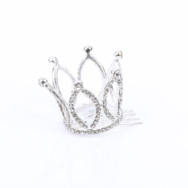 Cute Girls Mini Rhinestones Crown Tiara Hair Combs Kids Princess Hair Accessories Headwear