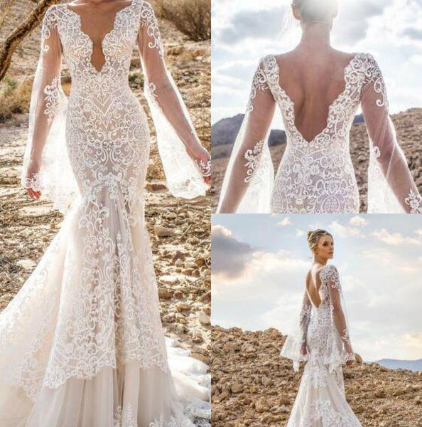 Lian Rokman Robes De Mariée Sirène 2019 V Cou Dos Nu Robes De Mariée Appliqued Robe de mariée Balayage Train Robe De Mariée