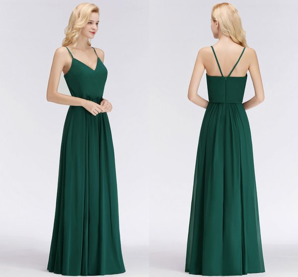 Dark Green Cheap Bridesmaid Dresses Sexy Spaghetti Straps V Neck Floor Length Wedding Guest Dress Maid of Honor Gowns 34 Colors BM0032
