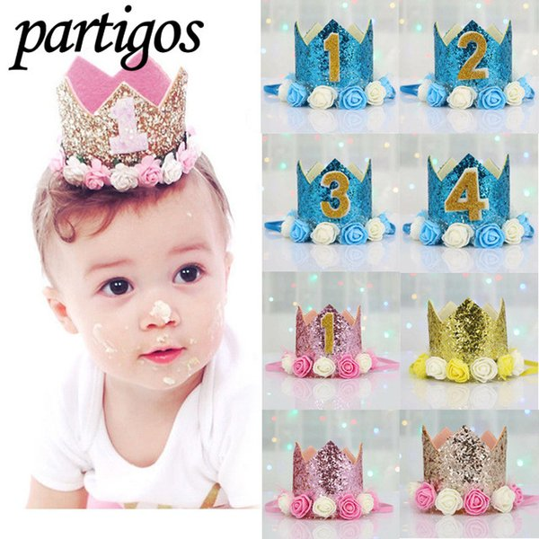 Hair Accessories Clothing, Shoes & Accessories Kids Baby 1st 2nd 3rd Birthday Hat Sequined Cake Crown Party Hair Band Blue