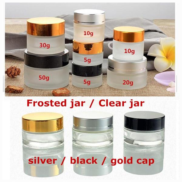 20g 30g 50g Silber / Schwarz / Goldkappenglas-Kosmetikgläser, Milchglas-Cremetiegel, transparente Augencreme Glasflasche Kosmetikverpackung 0230