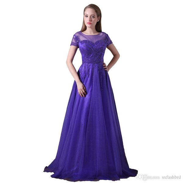Elegant Girls Dresses O Neck Short Sleeves With Beading A Line Tulle Long Party Formal Evening Dresses For Women Prom Dresses Gowns DH4269