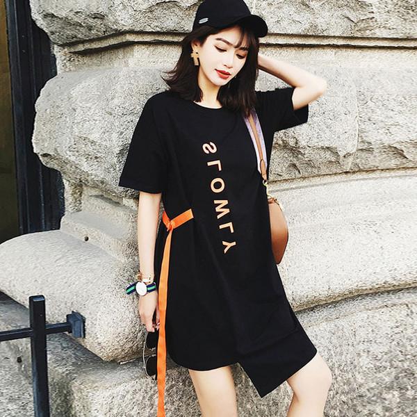 Новая корейская версия-свободная, универсальная, средняя и длинная тонкая футболка с нерегулярными короткими рукавами