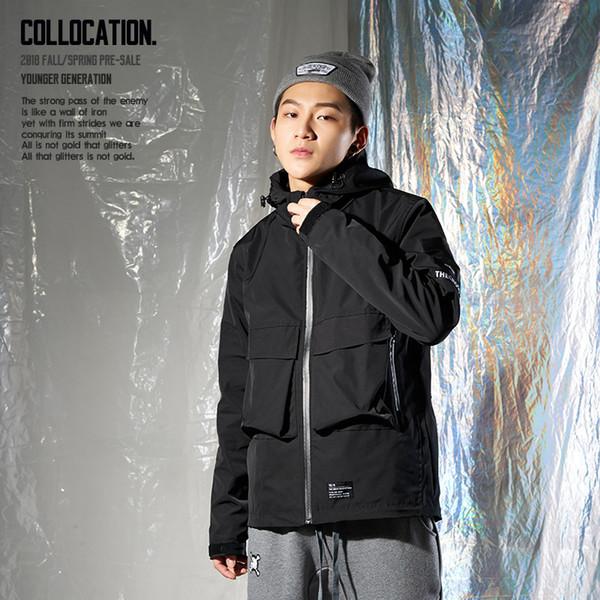 Moda ceket yeni uzun kollu hoodie tasarım gelgit marka kapüşonlu ceket 2018 sonbahar Avrupa ve Amerika erkek spor ceket ceket moda d