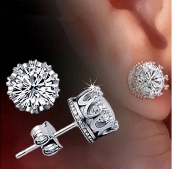 Banda New Crown Casamento Do Parafuso Prisioneiro Brinco de Prata Esterlina 925 CZ Simulado Diamantes Engajamento Jóias Bonitas de Cristal Anéis de Orelha