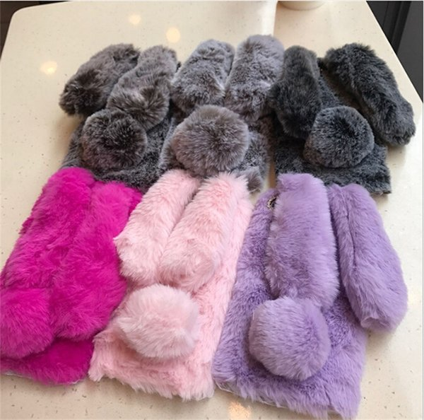 6color 3D Rabbit Ears Plush Furry Phone Cases Warm For iphone X /8/7/6 Cute Soft Fluffy Back Cover