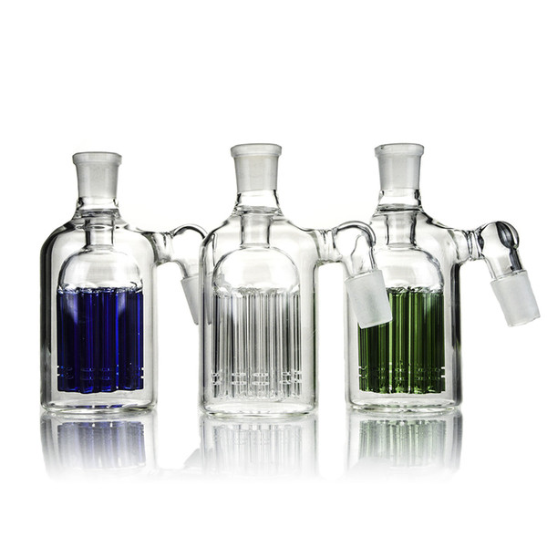 14mm 18mm Ash Catcher 11 Armed Wide Tree Perc Glass Ashcatcher Clear Green Blue Percolator for Bongs WaterPipes ASH-P101