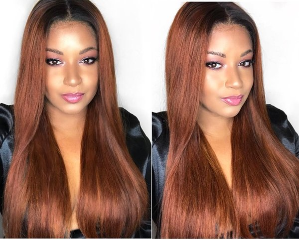 Cheap fashionable pretty 100% unprocessed raw virgin remy human hair long #1bT30 ombre color silky straight full lace cap wig for women
