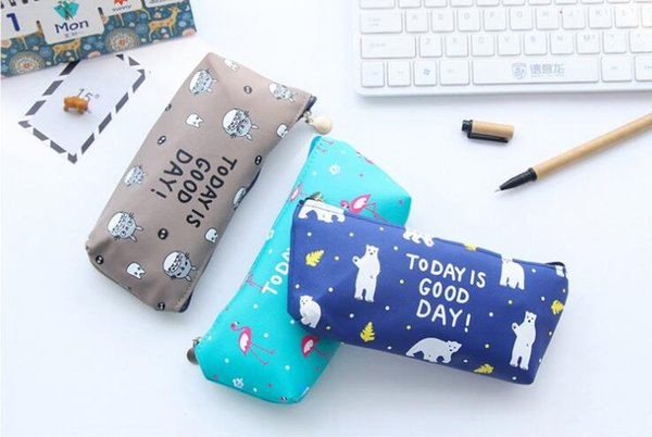 Student pen bag pencil case cute animal printed pencil bag office stationery school supplies for girls boys gifts