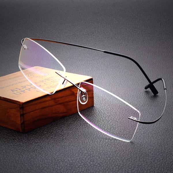 Freies Verschiffen 100% reines Titan randlose Marke Brillen Rahmen Männer Frauen optische Rahmen Brillengestell Auge Brille