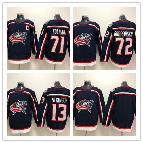 2018 New Brand Mens Columbus Blue Giacche 13 Cam Atkinson 71 Nick Foligno 72 Sergei Bobrovsky Maglie da hockey a buon mercato