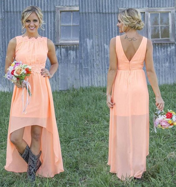 2019 New Cheap High Low Country Bridesmaid Dresses Backless Chiffon Coral Mint Green Formal Maid Of Honor Dress for Wedding Party Prom